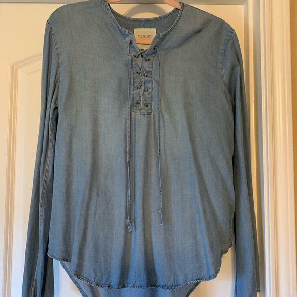 Thread & Supply Tops - Denim lace up top